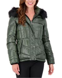 Vince Camuto High-shine Faux-fur-trim Hooded Puffer Coat, Created For Macy's - Green