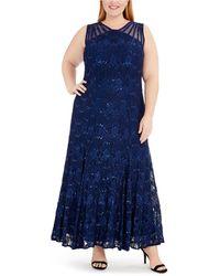 R & M Richards - Plus Size Sequin Lace Gown - Lyst