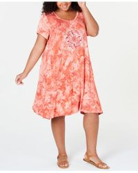 Style & Co. Plus Size Tie-dyed Graphic T-shirt Dress, Created For Macy's - Pink