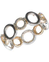 Nine West - Tri-tone Pavé Accented Circle Stretch Bracelet - Lyst