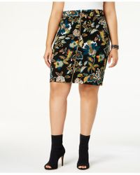 INC International Concepts | Plus Size Printed Zip-front Skirt | Lyst