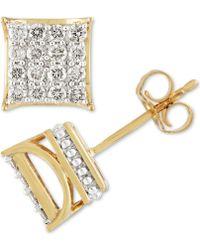 Macy's Diamond Square Cluster Stud Earrings (1/2 Ct. T.w.) In 10k Gold - Metallic