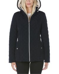 Laundry by Shelli Segal Petite Sherpa-lined Quilted Coat - Blue