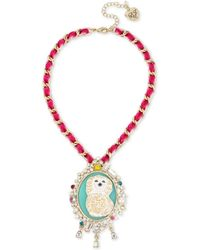 Betsey Johnson - Gold-tone Multi-stone & Imitation Pearl Poodle Cameo Pendant Necklace - Lyst