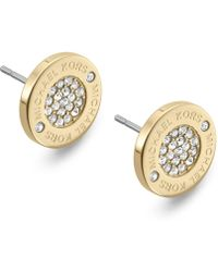Michael Kors - Gold-tone Crystal Pave Logo Stud Earrings - Lyst