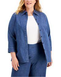Kasper Plus-size Denim Shirt - Blue