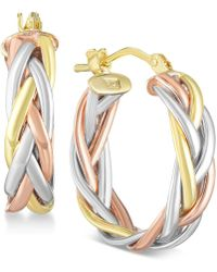 Macy's - Tricolor Braided Hoop Earrings In 14k Gold, White Gold & Rose Gold - Lyst