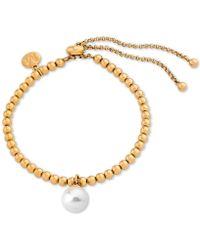 Majorica - Gold-tone Imitation Pearl Charm Beaded Slider Bracelet - Lyst