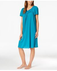 Miss Elaine - Short-sleeve Embroidered Nightgown - Lyst