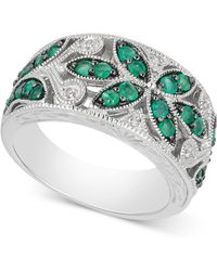 Macy's - Emerald (7/8 Ct. T.w.) & Diamond Accent Filigree Band In Sterling Silver - Lyst