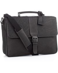 Kenneth Cole Reaction - Leather Double Gusset Flapover Computer Case - Lyst