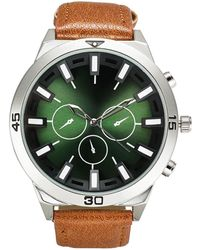 INC International Concepts Brown Faux Leather Strap Watch 50mm, Created For Macy's
