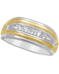 Macy's Men's Diamond Two-tone Ring (1/4 Ct. T.w.) In 10k Gold And White Gold - Metallic
