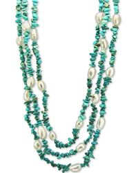"""Macy's Cultured Baroque Freshwater Pearl (8mm) & Gemstone 18"""" Necklace In Sterling Silver - Multicolour"""