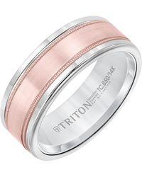Triton 8mm White Tungsten Carbide Ring With 14k Rose Gold Milgrain Insert - Multicolour