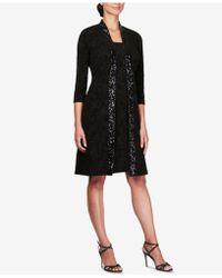 Alex Evenings Petite 2-piece Jacket & Dress Set - Black