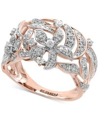 Effy Collection - Effy® Diamond Pavé Floral-inspired Statement Ring (5/8 Ct. T.w.) In 14k Rose Gold - Lyst