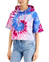 French Connection Cotton Tie-dyed Cropped Hoodie - Multicolour
