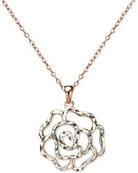 """Giani Bernini - Openwork Rose 18"""" Pendant Necklace In Sterling Silver & 18k Rose Gold-plated Sterling Silver, Created For Macy's - Lyst"""