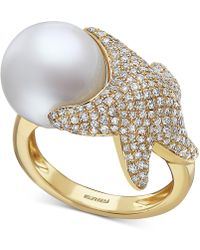 Effy Collection Effy® Cultured Freshwater Pearl (11-1/2mm) & Diamond (3/4 Ct. T.w.) Starfish Ring In 14k Gold - Metallic