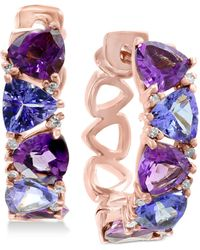 Effy Collection - Effy® Amethyst (2-1/5 Ct. T.w.), Tanzanite (2 Ct. T.w.) & Diamond Accent Hoop Earrings In 14k Rose Gold - Lyst