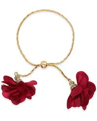 INC International Concepts Inc Imitation Pearl & Fabric Flower Bolo Bracelet, Created For Macy's - Red