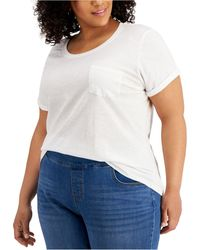 Style & Co. Plus Size Cotton Cuffed-sleeve T-shirt, Created For Macy's - White