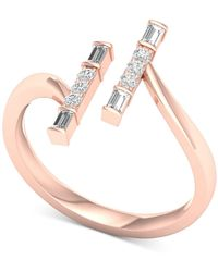Macy's - Diamond Vertical Bar Cuff Ring (1/4 Ct. T.w.) In 10k Rose Gold - Lyst