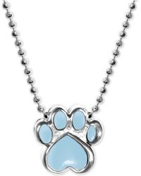 """Alex Woo - Blue Enamel Activist Paw Print 16"""" Pendant Necklace In Sterling Silver - Lyst"""