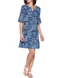 Ruby Rd. Petite Bead Batik Puff Dress - Blue