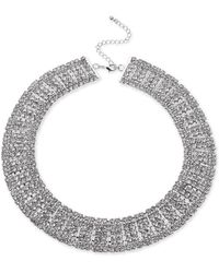"INC International Concepts Inc Silver-tone Crystal Multi-row Choker Necklace, 12-1/2"" + 3"" Extender, Created For Macy's - Metallic"
