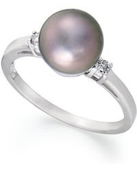 Macy's - 14k White Gold Ring, Tahitian Pearl (8mm) And Diamond Accent Ring - Lyst