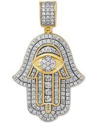 Macy's Diamond Hamsa Hand Pendant (1-1/10 Ct. T.w.) In Sterling Silver & 14k Gold-plate - Metallic