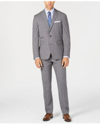 Vince Camuto - Slim-fit Stretch Gray Textured Solid Wool Suit - Lyst
