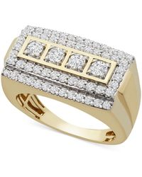 Macy's Diamond Rectangle Cluster Ring (1 Ct. T.w.) In 10k Gold - Metallic