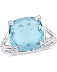 Macy's - Blue Topaz (9 Ct.t.w.) And White Topaz (1/20 Ct.t.w.) Split Shank Cocktail Ring In Sterling Silver - Lyst