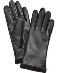 Charter Club Micro Faux Fur Lined Leather Tech Gloves, Created For Macy's - Black