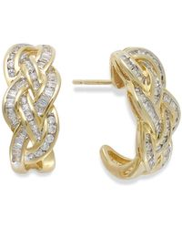 Wrapped in Love - Diamond Woven Hoop Earrings In 10k Gold (1 Ct. T.w.) - Lyst