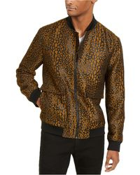 INC International Concepts Leopard Brocade Bomber Jacket, Created For Macy's - Brown
