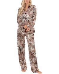 Linea Donatella Animal-print Satin Pyjama Set - Multicolour