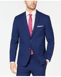 Vince Camuto - Slim-fit Stretch Wrinkle-resistant Blue Check Suit Jacket - Lyst