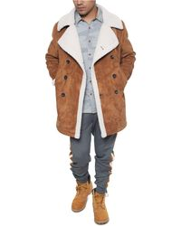 Sean John Faux Shearling Double Breasted Peacoat - Brown