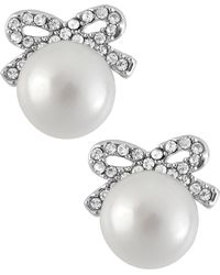 Betsey Johnson - Silver-tone Crystal Bow Imitation Pearl Stud Earrings - Lyst