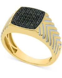 Macy's Black Diamond Cluster Ring (1/2 Ct. T.w.) In 10k Gold-plated Sterling Silver - Metallic