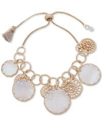 Lonna & Lilly Gold-tone Openwork Disc & Mother-of-pearl Shaky Slider Bracelet - White