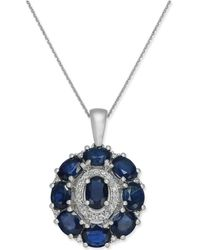 Macy's - Sapphire (4-1/4 Ct. T.w.) & Diamond (1/8 Ct. T.w.) Oval Cluster Pendant Necklace In 14k White Gold - Lyst