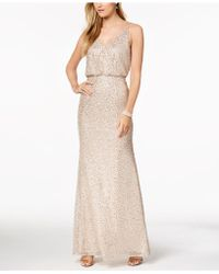 Adrianna Papell Sequined Blouson Gown - Natural