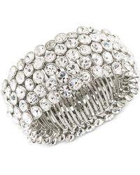 Carolee - Silver-tone Crystal Stretch Bracelet - Lyst