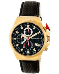 Morphic - M39 Series Leather-band Chronograph Watch - Gold/black - Lyst