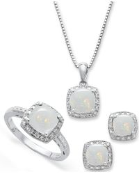 Macy's - Sterling Silver Jewelry Set, Opal (4-3/4 Ct. T.w.) And Diamond Accent Necklace, Earrings And Ring Set - Lyst